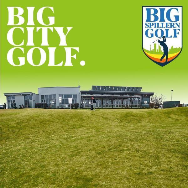 Logo Golf und Großstadt-Flair bei Big Spillern Golf!